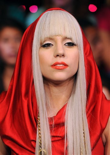 "FILE - In this Aug. 12, 2008, file photo Lady Gaga makes an appearance at MTV Studio's in Times Square for MTV's ""Total Request Live"" show in New York. Lady Gaga and Tyler the Creator lead MTV's newly inaugurated O Music Awards."