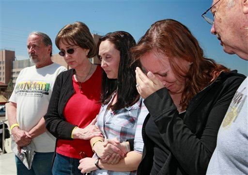 Family members of attacked Giant fan, Bryan Stow, gather for a news conference outside USC Hospital Tuesday April 5, 2011 in Los Angeles.