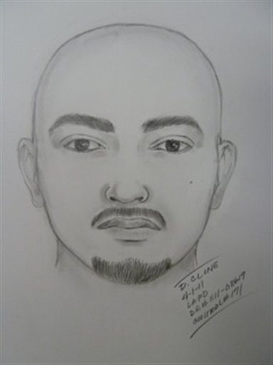 This artist sketch provided by the Los Angeles Police Department shows one of two suspects wanted in the attack on the Giants fan at Dodger Stadium that took place during the longtime rival team's game Friday April 1, 2011.