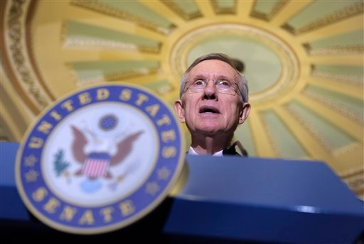 Senate Majority Leader Harry Reid of Nev. speaks to reporters on Capitol Hill in Washington, Tuesday, April 5, 2011. (AP Photo/Susan Walsh)