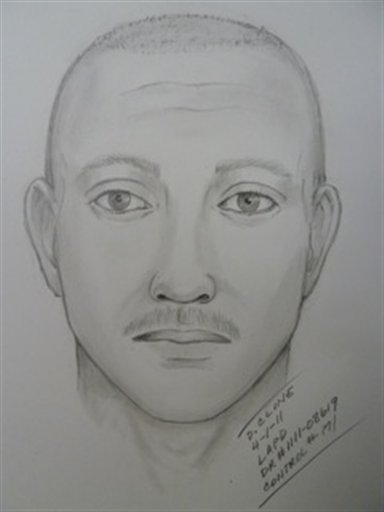 This artist sketch provided by the Los Angeles Police Department shows a suspect wanted in the attack on the Giants fan at Dodger Stadium.
