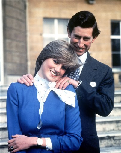 FILE - In this Feb. 24, 1981 file photo Britain's Prince Charles and Lady Diana Spencer pose following the announcement of their engagement.