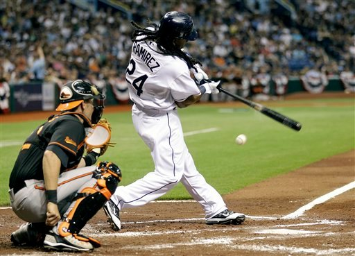 Tampa Bay Rays' Manny Ramirez (24) grounds out to shortstop during the second inning of an MLB baseball game against the Baltimore Orioles April 1, 2011, in St. Petersburg, Fla. (AP Photo/Chris O'Meara)