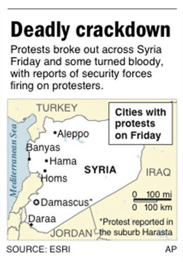 Map locates Daraa, Syria, where security forces opened fire on protesters Friday.
