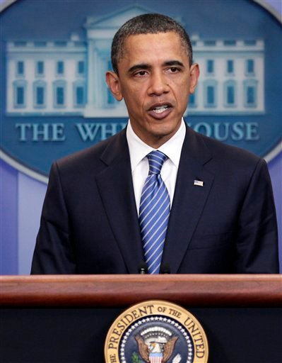 President Barack Obama speaks to the media after a meeting with House Speaker John Boehner, R-Ohio.
