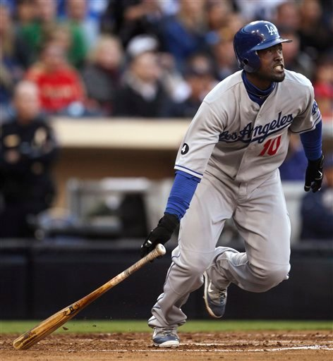 Los Angeles Dodgers' Tony Gwynn heads toward first as he watches his bloop single fall in right field and bring in the tie-breaking run in the Dodgers' 4-2 victory over the San Diego Padres in the 11th inning.