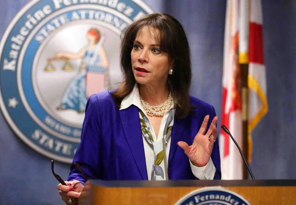 Miami-Dade State Attorney Katherine Fernandez Rundle gives a news conference on the opioid-related death of 10-year-old Alton Banks in Miami, Fla. (AP Photo/Mario Houben)