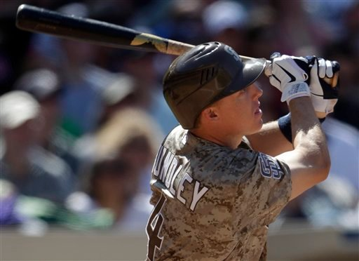 San Diego Padres' Nick Hundley watches his two-run home run to center field against the Los Angeles Dodgers in the sixth inning of a baseball game on Sunday, April, 10, 2011, in San Diego.