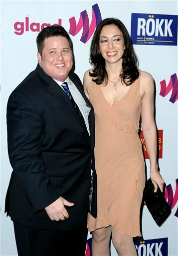 Chaz Bono, at left, and his girlfriend Jennifer Ella arrives to The 22nd Annual GLAAD Media Awards on Sunday, April 10, 2011, at The Westin Bonaventure in Los Angeles. (AP Photo/Katy Winn)