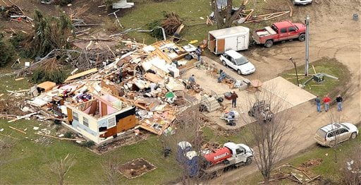 Destruction in Early, Iowa, is shown in this aerial photo on Sunday, April 10, 2011, The small town was hit by a tornado on Saturday which also caused damage in Mapleton, Iowa.  (AP Photo/Sioux City Journal, Tim Hynds)