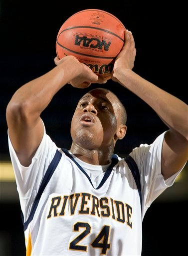 This March 11, 2009 photo shows former University of San Diego guard Brandon Dowdy during an NCAA college basketball game in Anaheim, Calif.