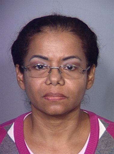 In this undated booking photo provided by the Las Vegas Metropolitan Police Department, Carmen Olfidia Torres-Sanchez, 47, from Medellin, Colombia who was arrested at McCarran International Airport on Saturday April 9,2011 is shown.