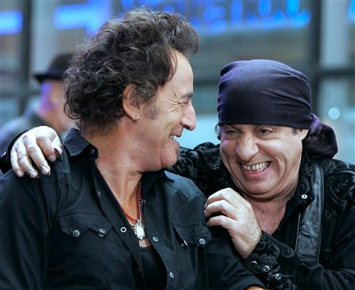 "In this Sept. 28, 2007 file photo, Bruce Springsteen, left, and band member Steven Van Zandt get together between songs when they appeared on the NBC ""Today"" television program in New York's Rockefeller Center."
