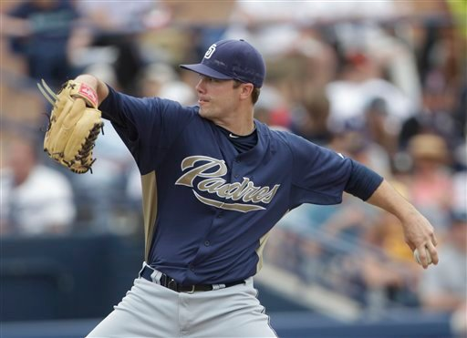 San Diego Padres starting pitcher Wade LeBlanc works in the first inning against the Seattle Mariners in a spring training baseball game in Peoria, Ariz., Sunday, March 20, 2011.