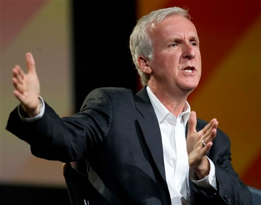 Director James Cameron speaks at the National Association of Broadcasters convention, Monday, April 11, 2011, in Las Vegas.