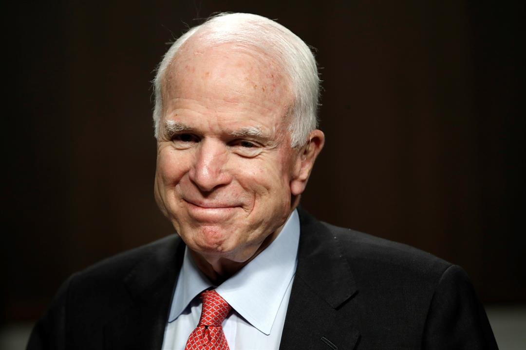 Senate Armed Services Committee Chairman Sen. John McCain, R-Ariz., arrives on Capitol Hill in Washington, Tuesday, July 11, 2017, for the committee's confirmation hearing for Navy Secretary nominee Richard Spencer. (AP Photo/Jacquelyn Martin)