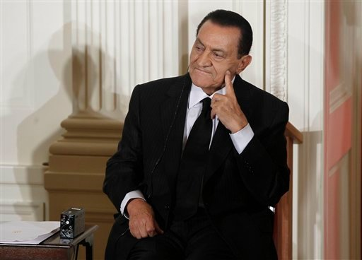 In this Sept. 1, 2010 file photo, Egypt's President Hosni Mubarak listens as Israel's Prime Minister Benjamin Nethanyahu, unseen, speaks in the East Room of the White House in Washington. (AP Photo/Charles Dharapak, File)