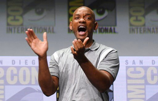 """Will Smith reacts at the Netflix Films' """"Bright"""" panel on day one of Comic-Con International on Thursday, July 20, 2017, in San Diego. (Photo by Al Powers/Invision/AP)"""