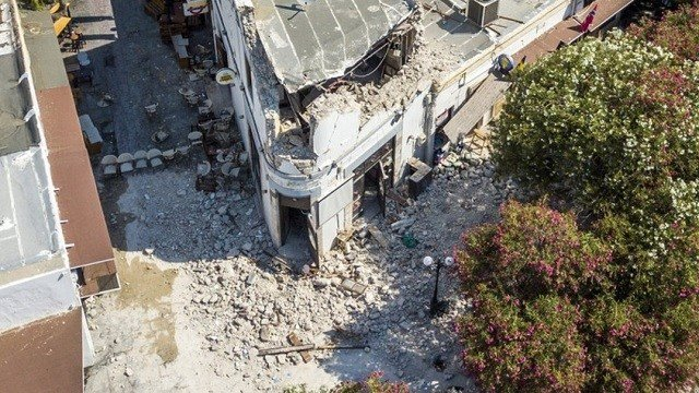 A partially destroyed building is seen after an earthquake on the island of Kos, Greece.