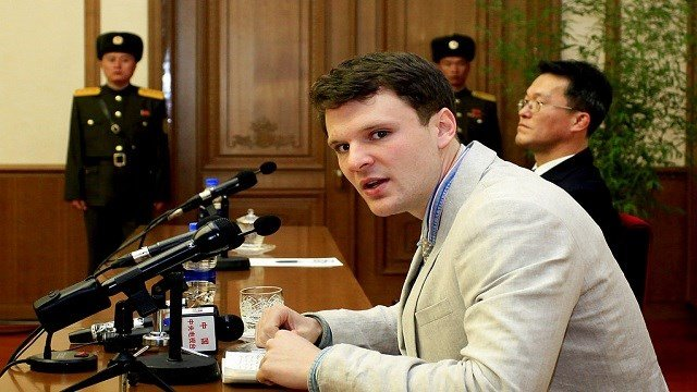American student Otto Warmbier speaks as Warmbier is presented to reporters in Pyongyang, North Korea.