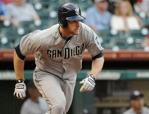 San Diego Padres' Chase Headley heads up the first baseline for a single in the first inning of a baseball game against the Houston Astros Thursday, April 14, 2011, in Houston. (AP photo/Pat Sullivan)