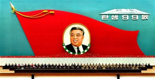 North Korean leaders attend a national meeting to commemorate the 99th birthday of North Korean founding leader Kim Il Sung at the Pyongyang Indoor Stadium on Thursday April 14, 2011.