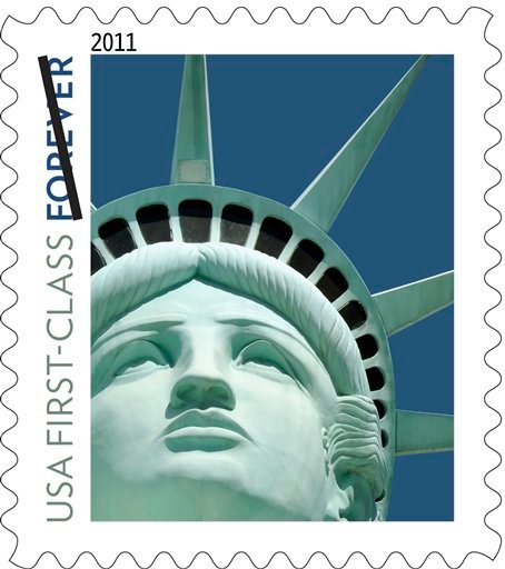 This undated handout image provided by the US Postal Service shows the Lady Liberty first class postage stamp. Just as the post office was hoping to promote going green, it finds itself red-faced.