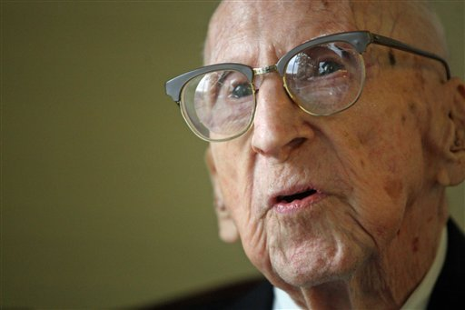 114 year old Walter Breuning sits for an interview with a reporter for the Associated Press in the lobby of his senior residence in Great Falls, Mont, on Oct. 6, 2010.