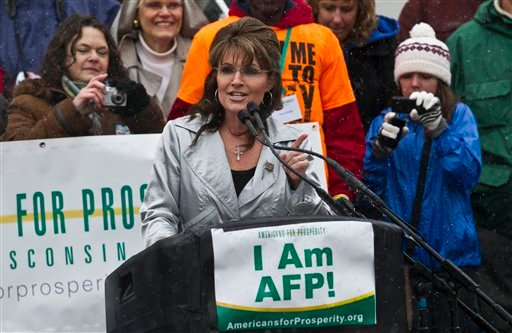 Former Alaska Gov. Sarah Palin speaks at a tax day tea party rally Saturday, April 16, 2011, in Madison, Wis. (AP Photo/Morry Gash)