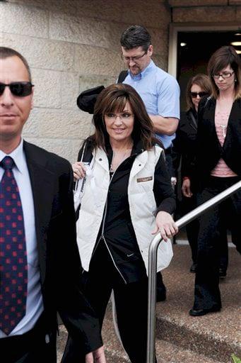Former Alaska Gov. Sarah Palin arrives at Ben Gurion airport near Tel Aviv, Israel, Sunday, March 20, 2011.