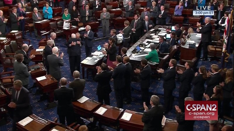 In this image from video provided by C-SPAN2, Sen. John McCain, R-Ariz. is embraced by Senate Minority Leader Charles Schumer of N.Y. as he arrives of the floor of the Senate on Capitol Hill in Washington, Tuesday, July 25, 2017.