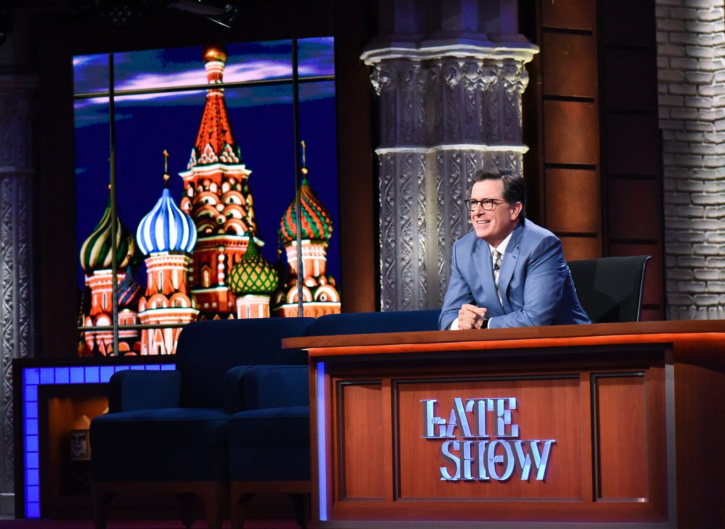 "This July 18, 2017 image released by CBS show host Stephen Colbert on ""The Late Show with Stephen Colbert."" (Scott Kowalchyk/CBS via AP)"