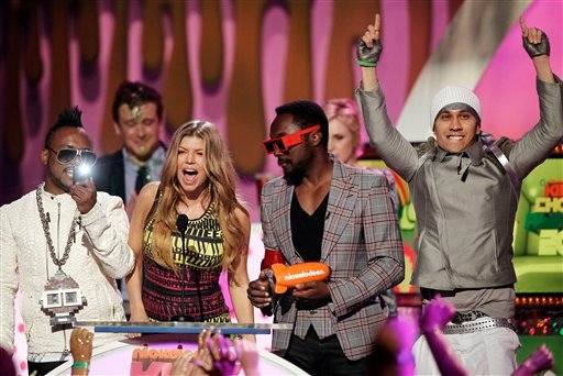 "The Black Eyed Peas accepts the award for ""Favorite Music Group"" at Nickelodeon's 24th Annual Kids' Choice Awards on Saturday, April 2, 2011, in Los Angeles."
