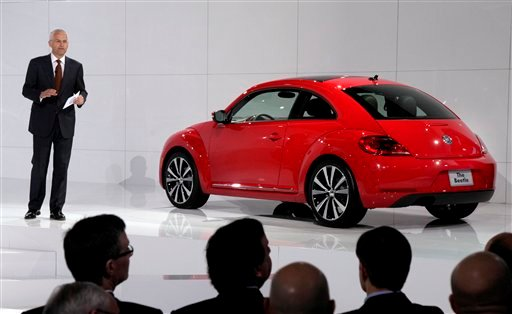Jonathan Browning, president and CEO, Volkswagen Group of America, introduces the 2012 Volkswagen Beetle, in New York, Monday, April 18, 2011.