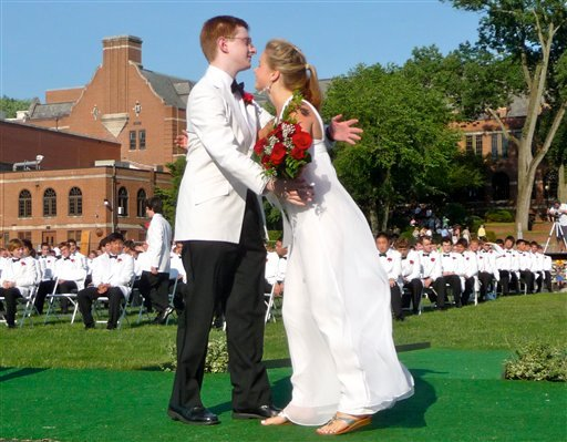 This June 2010 file photo provided by the Ridgewood Patch shows Tyler Clementi, left, hugging a fellow student during his 2010 graduation from Ridgewood High School in Ridgewood, N.J.