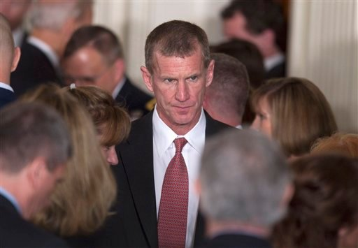 Retired Gen. Stanley McChrystal is seen in the East Room of the White House on Tuesday, April 12, 2011, during an event launch the national initiative to support and honor America's service members and their families.