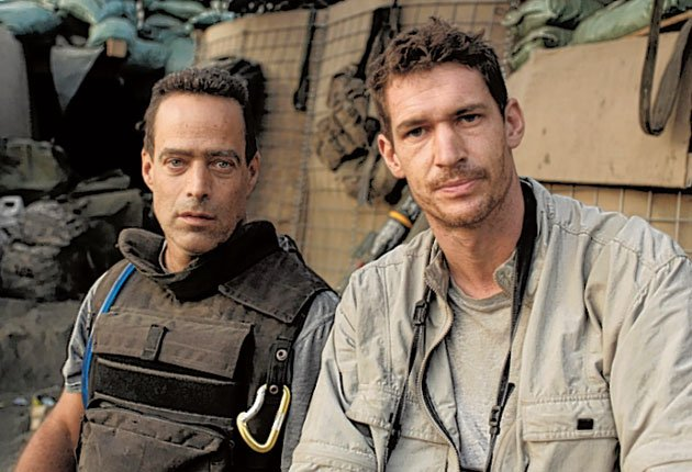 Tim Hetherington, right, with writer/director Sebastian Junger in the Korangal Valley during the filming of 'Restrepo'.