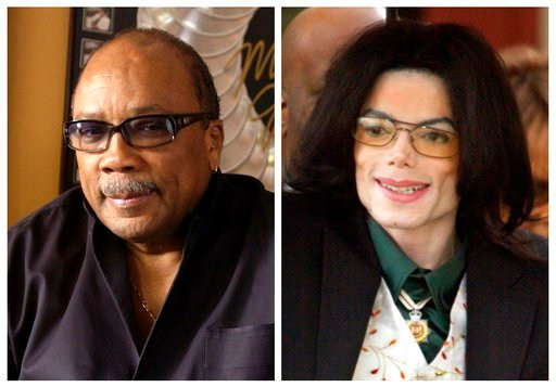 In this combination photo, Quincy Jones appears at his home in Los Angeles, Calif., on April 9, 2004, left, and Michael Jackson arrives to court on March 2, 2005, in Santa Maria, Calif. (AP Photo/File)