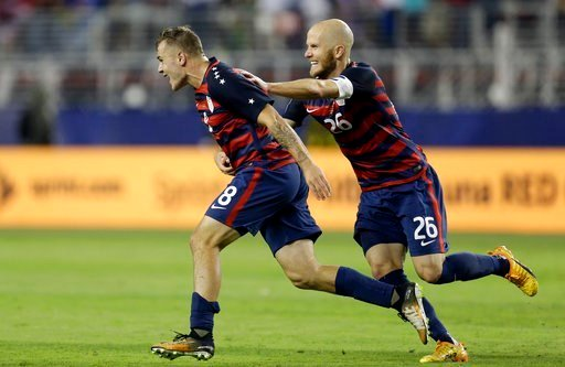 United States' Jordan Morris (8) and Michael Bradley celebrate after Morris scored a goal against Jamaica during the second half of the Gold Cup final soccer match in Santa Clara, Calif., Wednesday, July 26, 2017.