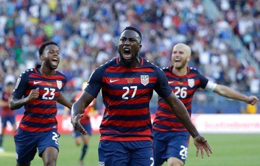 United States' Jozy Altidore (27) celebrates after scoring a goal during the first half of the Gold Cup final soccer match against Jamaica in Santa Clara, Calif., Wednesday, July 26, 2017.