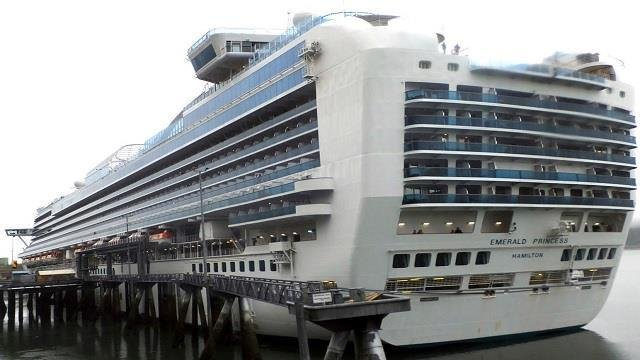 The Emerald Princess cruise ship is docked in Juneau, Alaska, Wednesday, July 26, 2017.