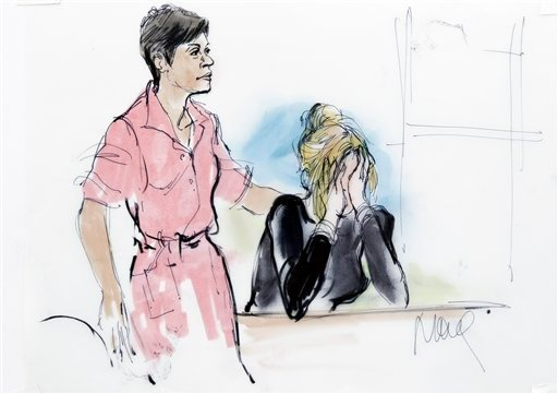 In this courtroom sketch actress Lindsay Lohan, right, is seen with her attorney Shawn Chapman Holley during a preliminary hearing at the LAX Airport Courthouse, Friday, April 22, 2011 in Los Angeles. Lohan was sentenced to 120 days in jail.