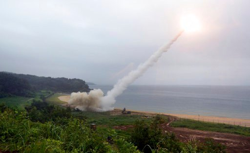 (South Korea Defense Ministry via AP) In this photo provided by South Korea Defense Ministry, U.S. Army Tactical Missile System fires a missile during the combined military exercise between the U.S. and South Korea against North Korea at an undisclosed lo
