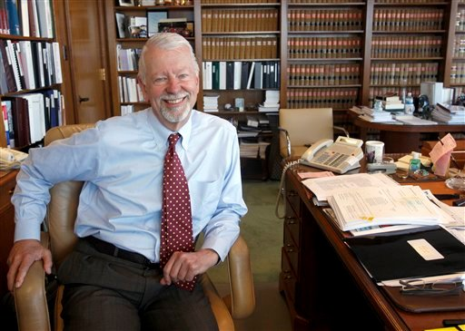 FILE - In this photo taken Wednesday, July 8, 2009, Judge Vaughn Walker is seen in his chambers at the Phillip Burton Federal Building in San Francisco, Calif.