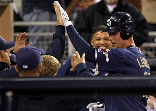 San Diego Padres' Ryan Ludwick, right, is greeted upon returning to the dugout after his solo homer against the Atlanta Braves in the third inning of a baseball game Monday, April 25, 2011 in San Diego. (AP Photo/Lenny Ignelzi)
