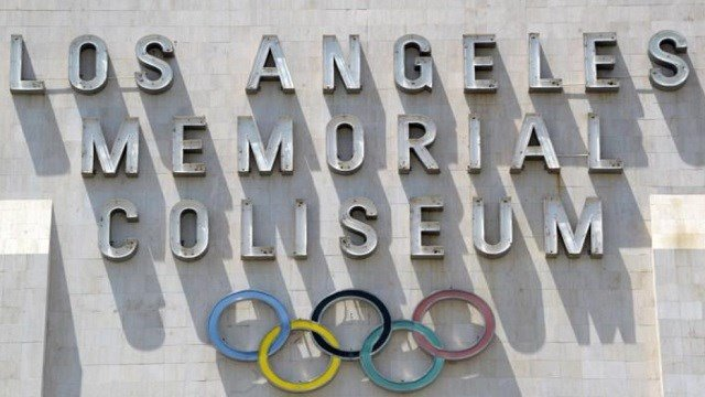 Los Angeles, CA, USA; General view of the Olympic rings at the Los Angeles Memorial Coliseum.