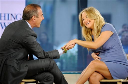 "In this photo released by NBC Universal, Inc., ""Today"" show co-host Matt Lauer talks with actress Kate Hudson on the ""Today"" show about her new movie ""Something Borrowed,"" her pregnancy and recent engagement to Matthew Bellamy, Wednesday, April 27, 2011,"