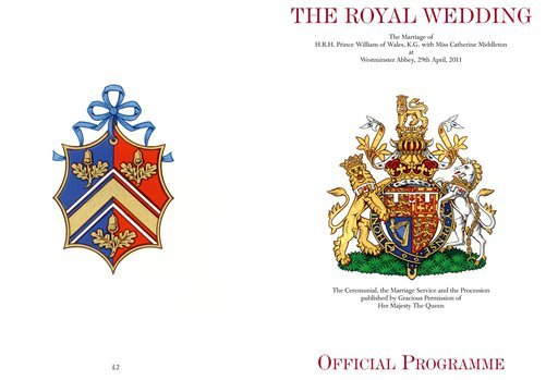 This image made available in London Tuesday April 19, 2011, by Clarence House, shows the front, right, and back covers of the official souvenir wedding programme for the wedding of Prince William and Kate Middleton.
