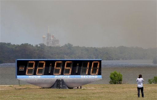 Dense smoke engulfs the Kennedy Space Center, Wednesday April 27, 2011 in Cape Canaveral, Fla..