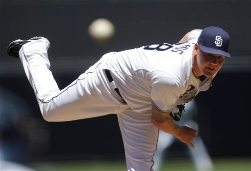 San Diego Padres starting pitcher Mat Latos works in the first inning against the Atlanta Braves in a baseball game Wednesday, April 27, 2011, in San Diego.